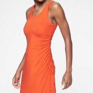 Athleta Side Gather Tee Shirt Orange Dress Size XS